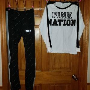 Victoria secrets pink sweat pants and shirt